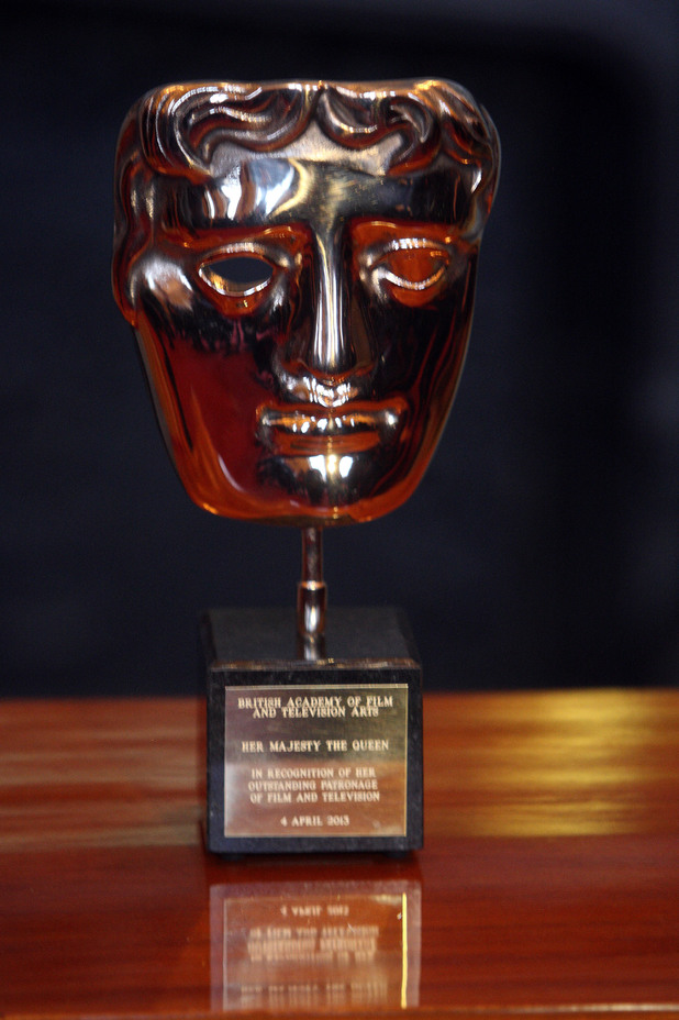 A close-up of the Bafta