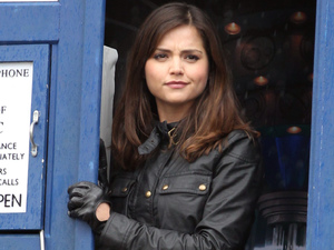Jenna-Louise Coleman filming on location for Doctor Who in Trafalgar Square, London