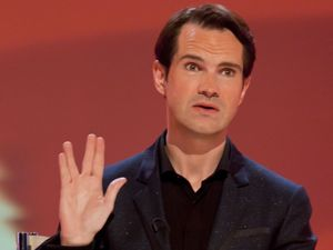 Jimmy Carr doing the Vulcan Salute during an episode of '8 Out Of 10 Cats'  in December 2010