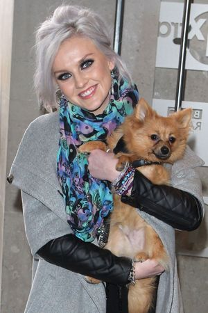 Perrie Edwards arrives at Radio 1 studios.
