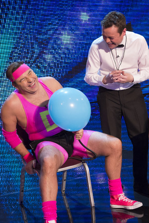 David Walliams plays David vs Goliath on 'Britain's Got More Talent'