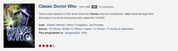 Netflix classic Doctor Who listing