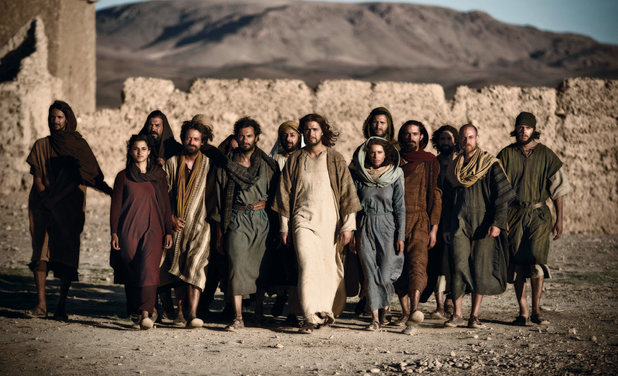 Diogo Morgado as Jesus with his disciples in the TV series 'The Bible'