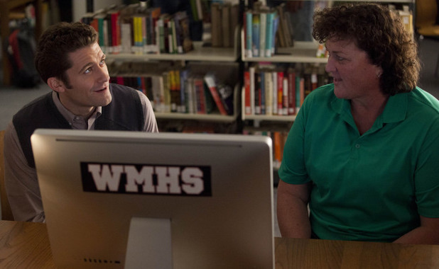 Will (Matthew Morrison) and Coach Beiste (Dot-Marie Jones) chat in Glee S04E18: 'Shooting Star'
