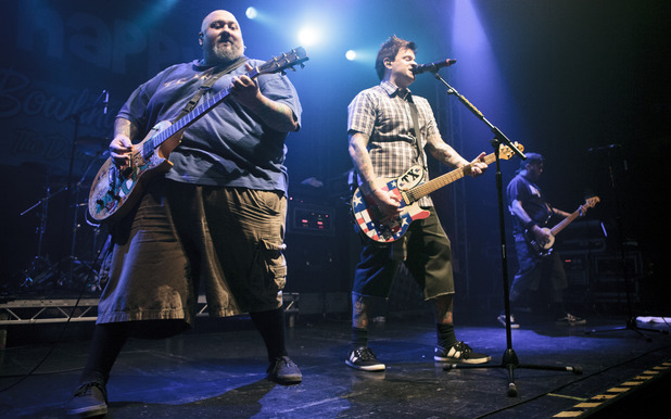 Chris Burney, Jaret Reddick and Erik Chandler of Bowling For Soup perform at the O2 Academy, Leeds