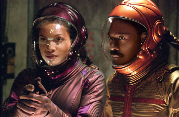 Eddie Murphy and Rosario Dawson in 'The Adventures of Pluto Nash'
