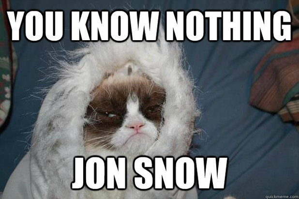 you know nothing jon snow meme from game of thrones