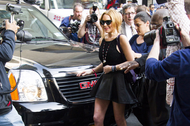 Lindsay Lohan leaves the Ed Sullivan Theater after her appearance on 'The Late Show with David Letterman'