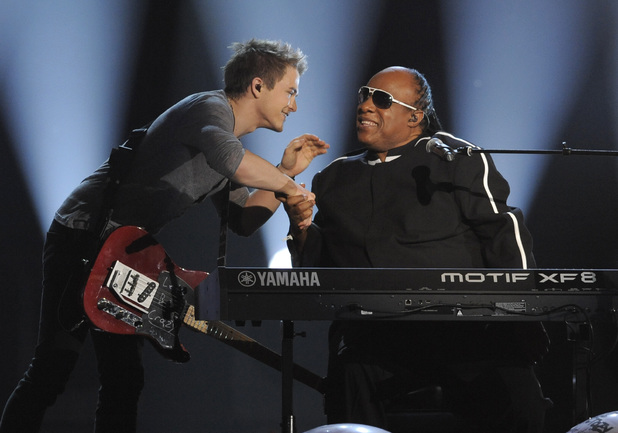Hunter Hayes and Stevie Wonder perform together at the Academy of Country Music Awards 2013