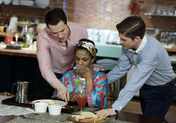 Jake Robinson as Bennet, Freema Agyeman as Larissa, and Brendan Dooling as Walt in The Carrie Diaries S01E13: 'Kiss Yesterday Goodbye'