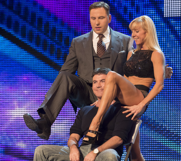 Simon Cowell and David Walliams join Keri on stage on Britain's Got Talent