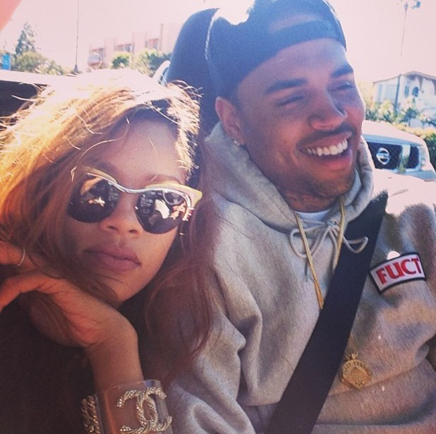 Rihanna poses with Chris Brown