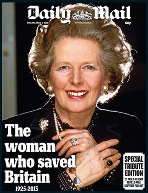 Newspaper front pages: Margaret Thatcher