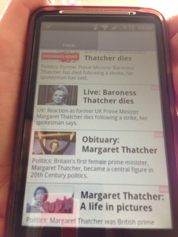 "Margaret Thatcher: BBC News ""strike"" typo goes viral - picture"