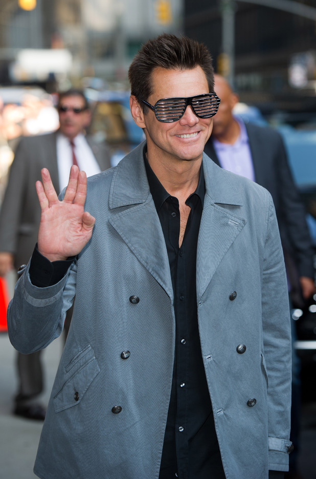 Jim Carrey does the Vulcan Salute before appearing on the 'Late Show with David Letterman' in New York