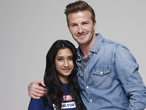 Sky Ambassador David Beckham with young people from Sky Sports Living for Sport