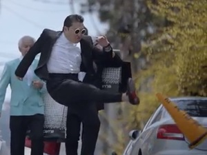 Psy kicks traffic cone in 'Gentleman' music video.