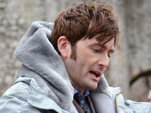 David Tennant on set in Chepstow, Wales for the Doctor who 50th Anniversary