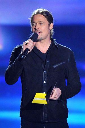 Brad Pitt presents the 'Movie of the Year' award at the MTV Movie Awards 2013
