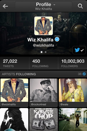 Twitter #music application: Profile