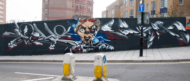 Margaret Thatcher painted as the Terminator in mural