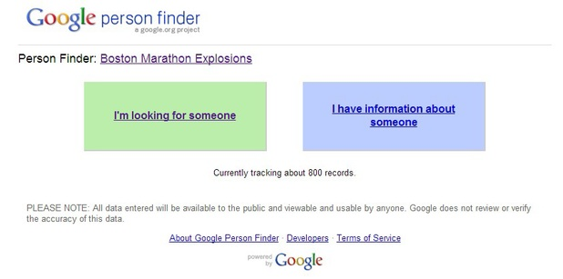 Google Person Finder for Boston Marathon explosions
