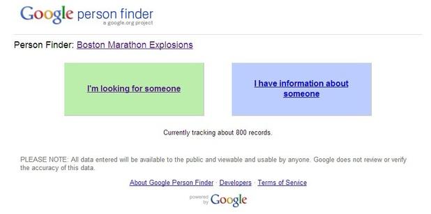 Google Person Finder for Boston Marathon explosions