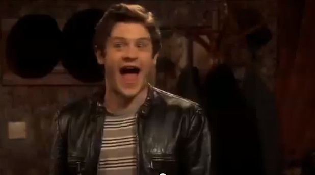 Iwan Rheon and his gaping mouth in 'Vicious'
