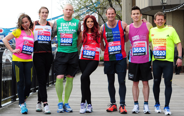 Amanda Mealing, Kelly Sotherton, Iwan Thomas, Amy Childs, Andrew Strauss, James Toseland and Mike Bushell during a photocall at the Tower Hotel, London.
