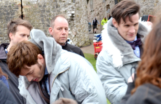 Matt Smith & David Tennant on set in Chepstow, Wales for the Doctor who 50th Anniversary