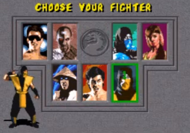 Mortal Kombat arcade selection screen