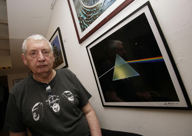 Designer Storm Thorgerson next to his cover of the Pink Floyd album 'The Dark Side of the Moon' during the opening of his exhibition 'Mind Over Matter: The Images of Pink Floyd' at the Oxo Tower Gallery in central London.