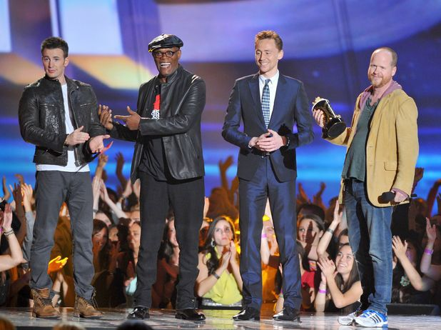 Chris Evans, Samuel L. Jackson, Tom Hiddleston and Joss Whedon accept the 'Movie of the Year' at the MTV Movie Awards 2013