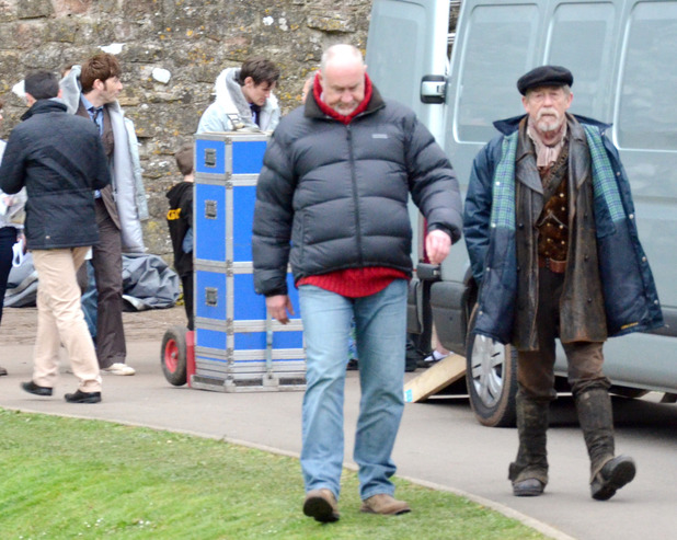 John Hurt on set in Chepstow, Wales for the Doctor who 50th Anniversary