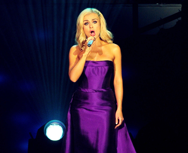 Katherine Jenkins performs on stage at the O2 arena in London.