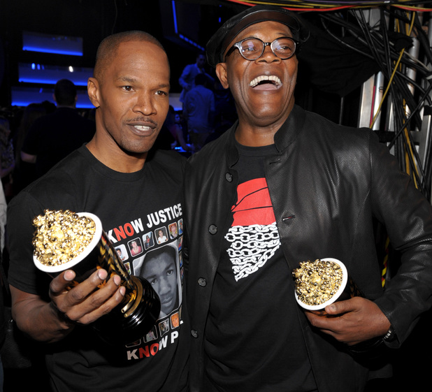 MTV Movie Awards 2013: Samuel L Jackson and Jamie Foxx ('Best WTF Moment', Django Unchained)