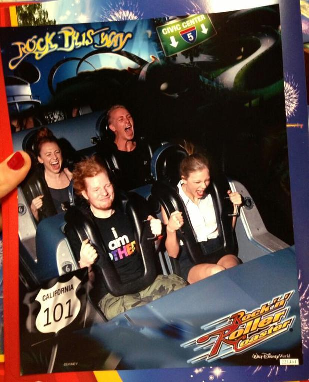 Taylor Swift and Ed Sheeran ride Disney World's Rock 'n' Roller Coaster