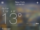 A screenshot of the new Yahoo! weather application