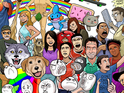Rebecca Black, Kanye, rickrolling, 2 Girls 1 Cup, Grumpy Cat all illustrated.