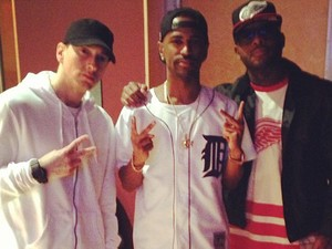 "Big Sean, Eminem, Royce Da 5'9"" pictured in recording studio"