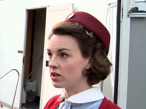 Jessica Raine in Call The Midwife spoof