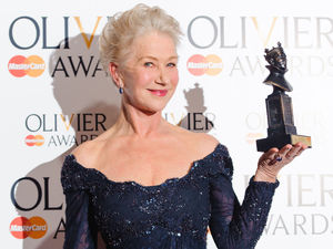 Helen Mirren with her 'Best Actress' Olivier award for 'The Audience'