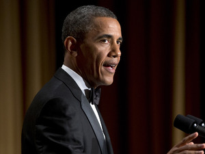 President Barack Obama speaks during the White House Correspondents' Association Dinner.