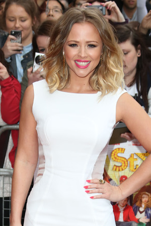 Kimberley Walsh, sheer panels, white gown, All Stars premiere