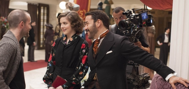Jeremy Piven and Aisling Loftus shoot a scene for <em>Mr Selfridge</em> series two.