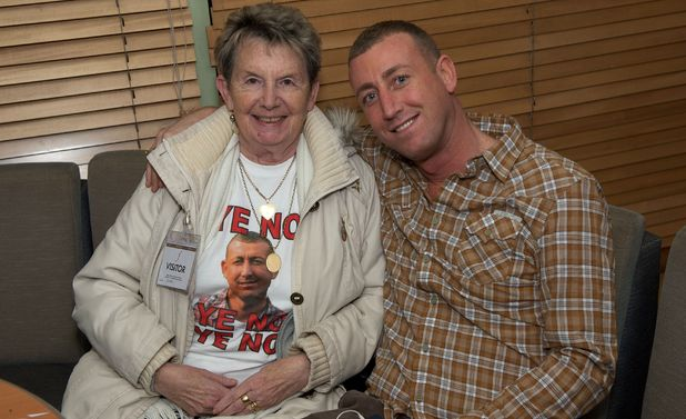 Christopher Maloney with his nan backstage during the X Factor live results show