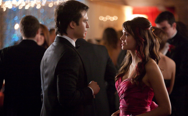 Ian Somerhalder as Damon and Nina Dobrev as Elena in in The Vampire Diaries S04E19: 'Pictures of You'