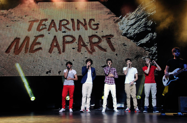 One Direction's  Louis Tomlinson, Harry Styles, Liam Payne, Zayn Malik and Niall Horan at the Gibson Amphitheatre ~~ June 16, 2012
