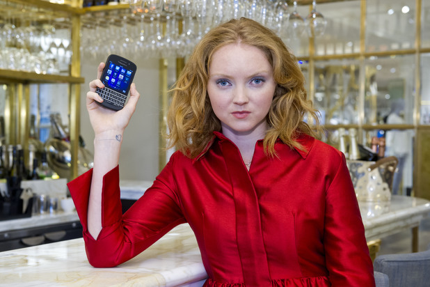Lily Cole showcases the BlackBerry Q10 at Selfridges