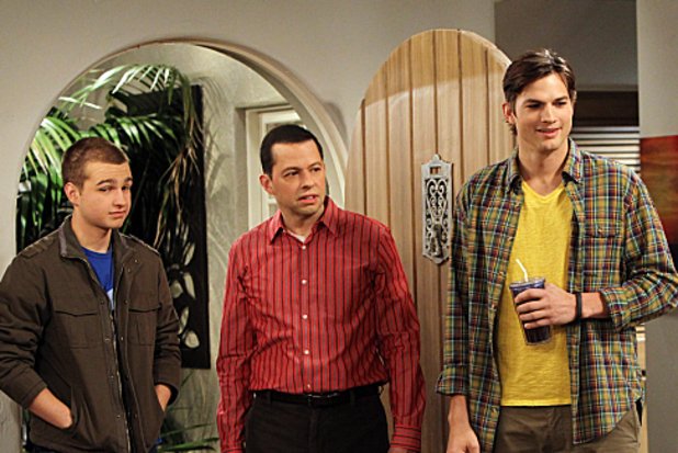 Angus T. Jones (Jake), Jon Cryer (Alan), Ashton Kutcher (Walden) and Jaime Pressly (Tammy) in 'Two and a Half Men'